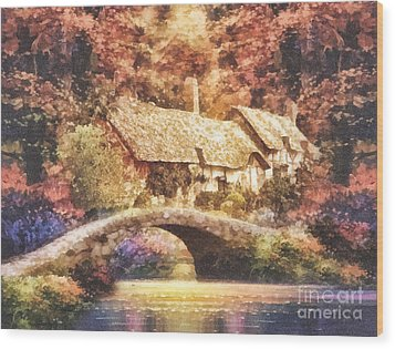 Golden Ripple Wood Print by Mo T