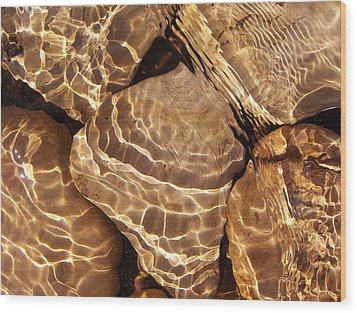 Golden Ripples Wood Print by Kathi Mirto