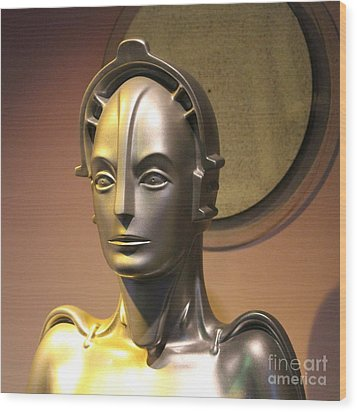 Wood Print featuring the photograph Golden Robot Lady Closeup by Cynthia Snyder