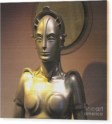 Wood Print featuring the photograph Golden Robot Lady by Cynthia Snyder