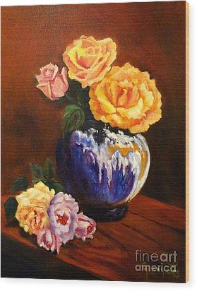 Wood Print featuring the painting Golden Roses by Jenny Lee