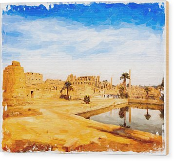 Golden Ruins Of Karnak Wood Print by Mark E Tisdale