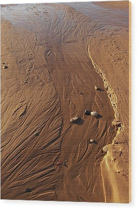 Golden Sand Streams Wood Print by Kathi Mirto