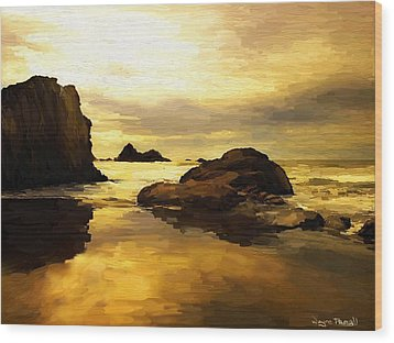 Wood Print featuring the painting Golden Sands by Wayne Pascall