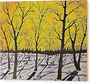 Golden Shadows Wood Print