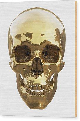 Golden Skull Wood Print by Vitaliy Gladkiy