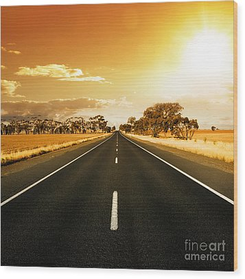 Golden Sky And Road Wood Print by Boon Mee