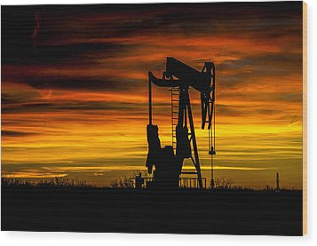 Golden Sunrise And West Texas Black Gold Wood Print