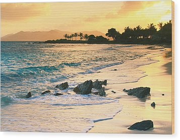 Golden Sunrise On Sapphire Beach Wood Print