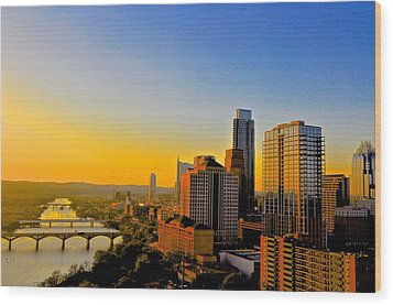 Golden Sunset In Austin Texas Wood Print