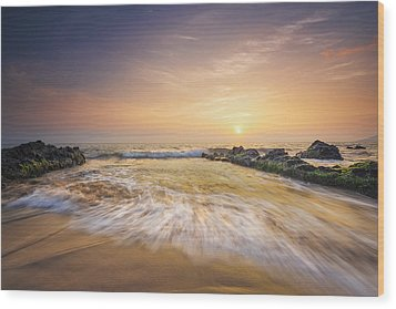 Wood Print featuring the photograph Golden Sunset by Hawaii  Fine Art Photography