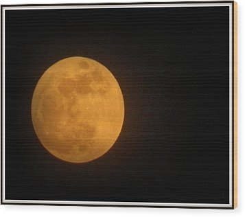 Golden Super Moon Wood Print by Kathy Barney