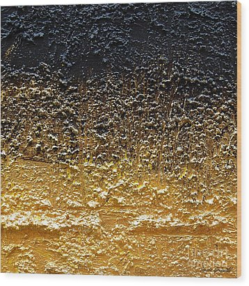 Wood Print featuring the painting Golden Time - Abstract by Ismeta Gruenwald