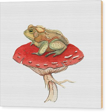 Wood Print featuring the painting Golden Toad by Katherine Miller