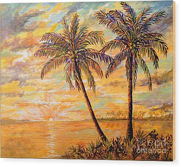Wood Print featuring the painting Golden Tropics by Lou Ann Bagnall