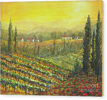 Golden Tuscany Wood Print by Lou Ann Bagnall