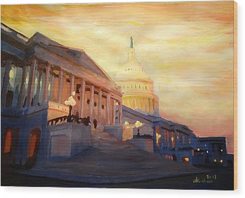 Golden United States Capitol In Washington D.c. Wood Print by M Bleichner