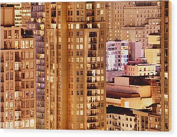 Wood Print featuring the photograph Golden Vancouver Cityscape Cdxii By Amyn Nasser by Amyn Nasser