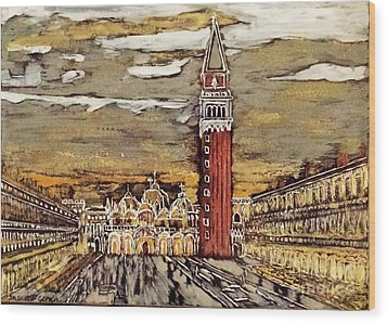 Golden Venice Wood Print by Jasna Gopic