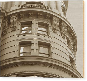 Golden Vintage Building Wood Print by Connie Fox