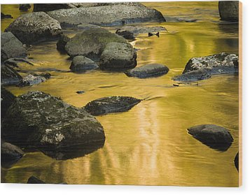 Wood Print featuring the photograph Golden Water by Jay Stockhaus