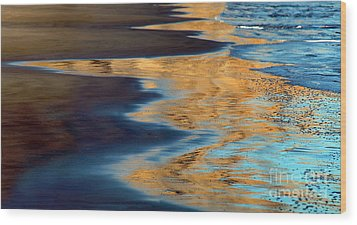 Golden Water Reflections Point Reyes National Seashore Wood Print by Wernher Krutein