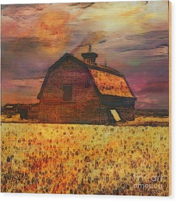 Golden Wheat Sunset Barn Wood Print