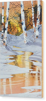 Golden Winter Wood Print by Teresa Ascone