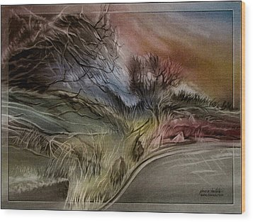 Wood Print featuring the pastel Goldencoloradoroadscape 2010 by Glenn Bautista