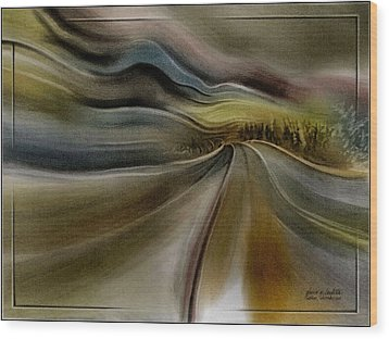 Wood Print featuring the pastel Goldencoroadscapeb'10 by Glenn Bautista