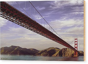 Goldengate Bridge San Francisco Wood Print by Bob and Nadine Johnston
