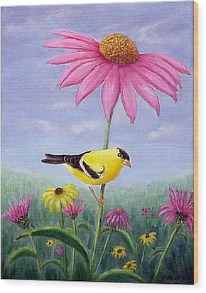 Wood Print featuring the painting Goldfinch And Coneflowers by Fran Brooks