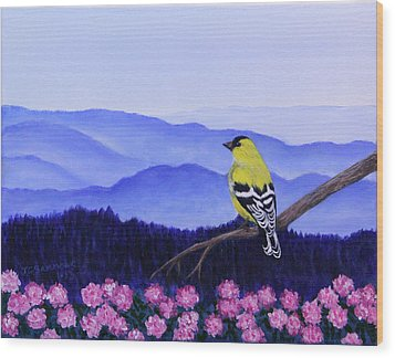 Goldfinch And Rhododendrens Wood Print