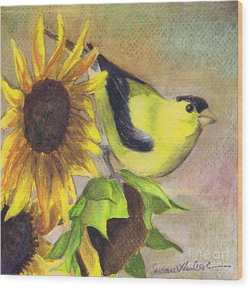 Wood Print featuring the painting Goldfinch And Sunflowers by Susan Herbst
