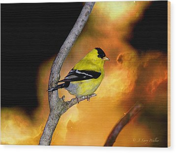 Wood Print featuring the digital art Goldfinch At The Edge Of The Abyss by J Larry Walker