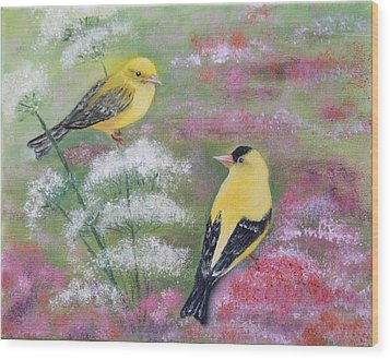 Goldfinches Wood Print