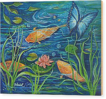 Wood Print featuring the painting Goldfish And Butterfly by Yolanda Rodriguez