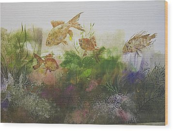 Goldfish Wood Print by Nancy Gorr