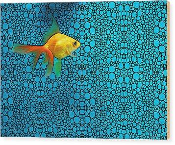 Goldfish Study 3 - Stone Rock'd Art By Sharon Cummings Wood Print by Sharon Cummings