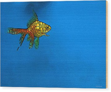 Goldfish Study 4 - Stone Rock'd Art By Sharon Cummings Wood Print by Sharon Cummings