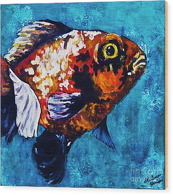 Wood Print featuring the mixed media Goldie by Melissa Sherbon