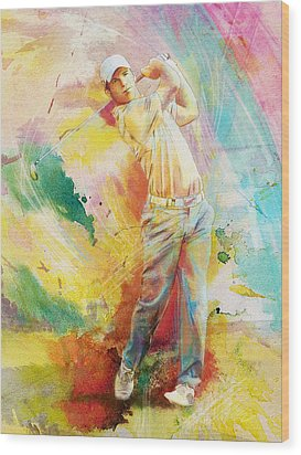 Golf Action 01 Wood Print by Catf