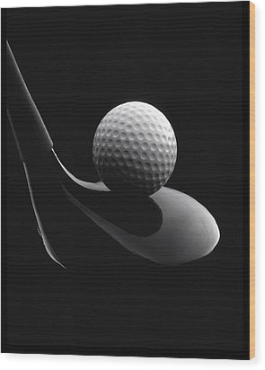 Golf Ball And Club Wood Print by John Wong