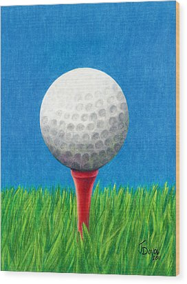 Golf Ball And Tee Wood Print by Janice Dunbar