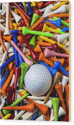 Golf Ball And Tees Wood Print by Garry Gay