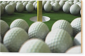 Golf Ball Hole Assault Wood Print by Allan Swart