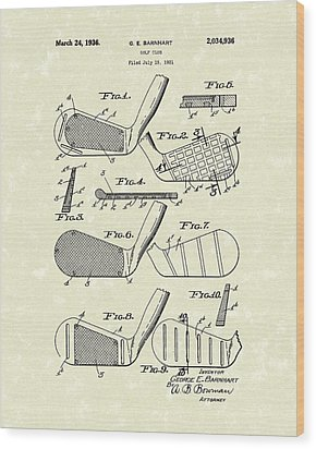 Golf Club 1936 Patent Art Wood Print by Prior Art Design