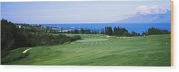Golf Course At The Oceanside, Kapalua Wood Print
