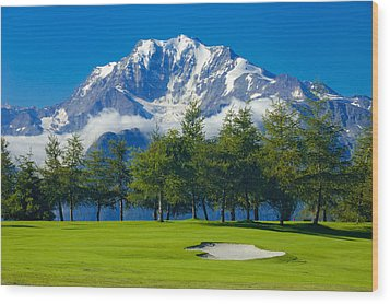 Golf Course In The Mountains - Riederalp Swiss Alps Switzerland Wood Print by Matthias Hauser