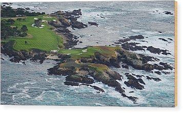 Golf Course On An Island, Pebble Beach Wood Print